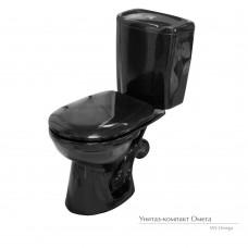 Унитаз-компакт ОМЕГА с черным сиденьем (жестким) и арм. с однореж. спуском /Stop/ (Алкапласт)